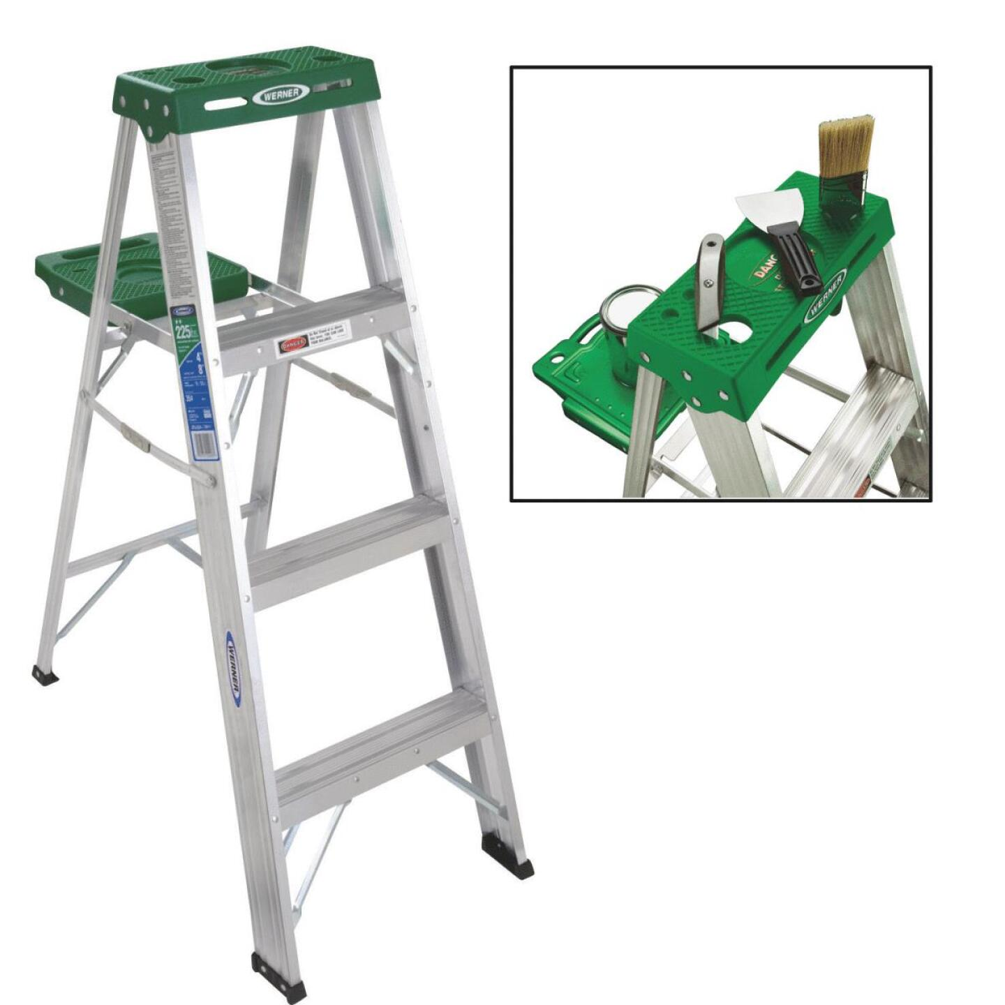 Werner 4 Ft. Aluminum Step Ladder with 225 Lb. Load Capacity Type II Ladder Rating Image 1
